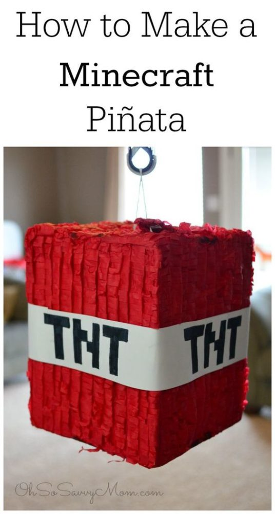 DIY Minecraft Party Ideas TNT Piñata