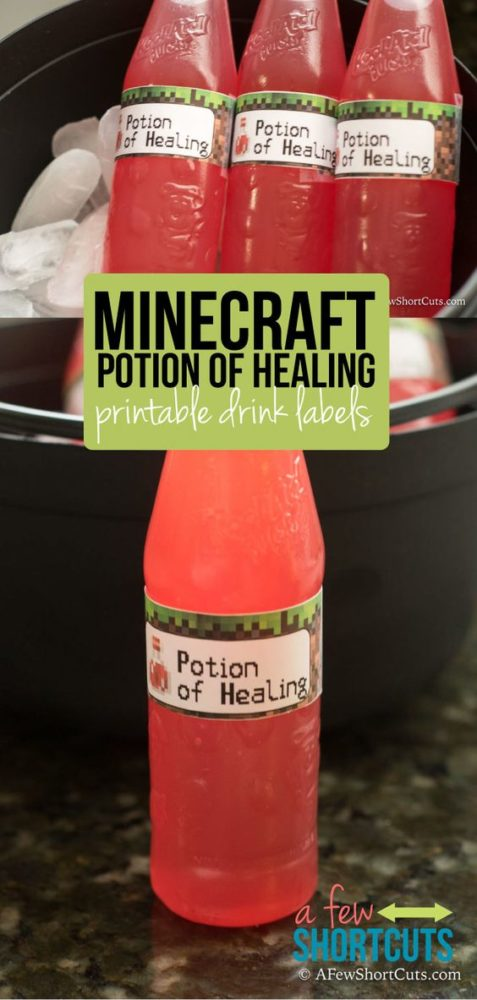Free Printable Minecraft Party Drink Labels | Minecraft Party Ideas | Pretty My Party