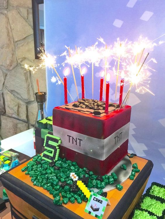 Minecraft TNT Cake | Minecraft Party Ideas