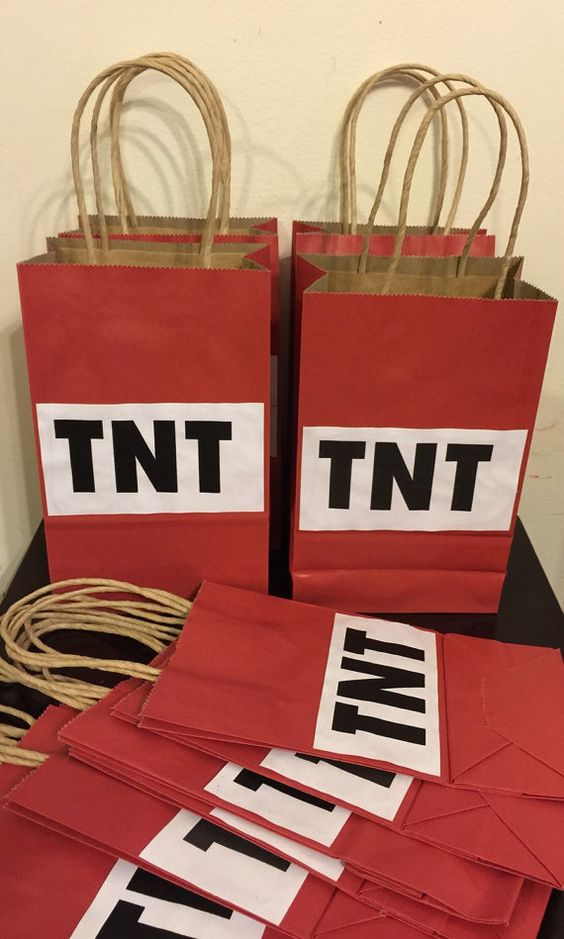 Minecraft TNT Favor Bags | Minecraft Party Ideas