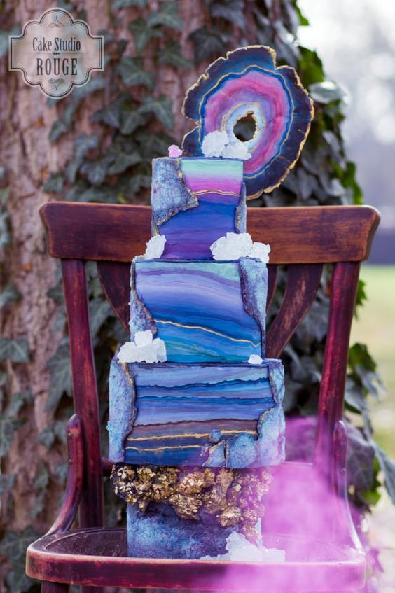Purple and Blue Geode Birthday Cake | Geode Cake Ideas