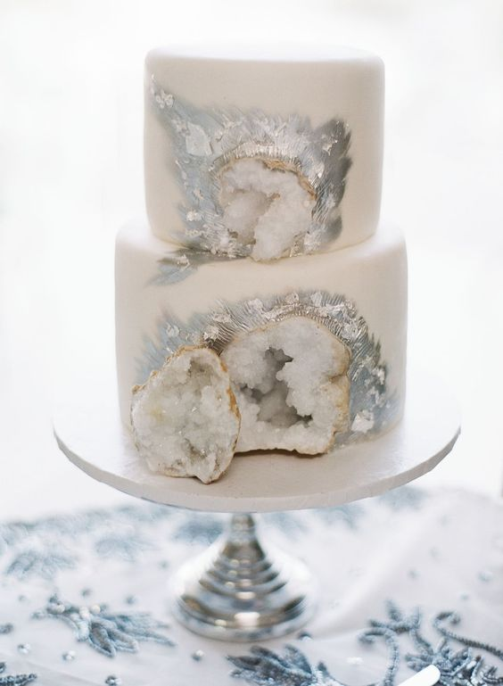 Silver and White Geode Cake | Geode Cake Ideas