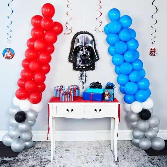 45 awesome diy balloon decor ideas pretty my party - Decoration table theme star wars ...