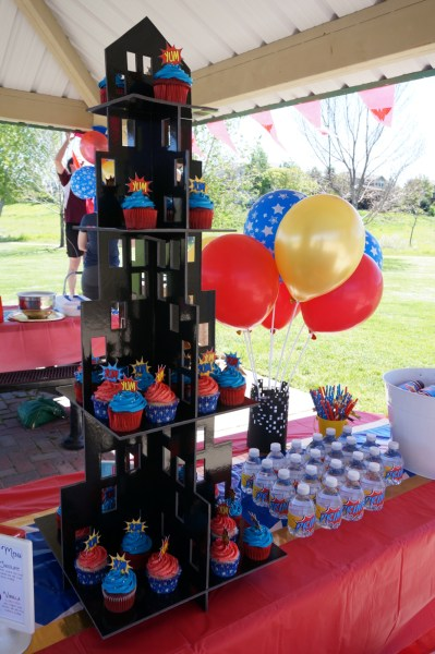 Wonder Woman Party Ideas - Cupcake Tower
