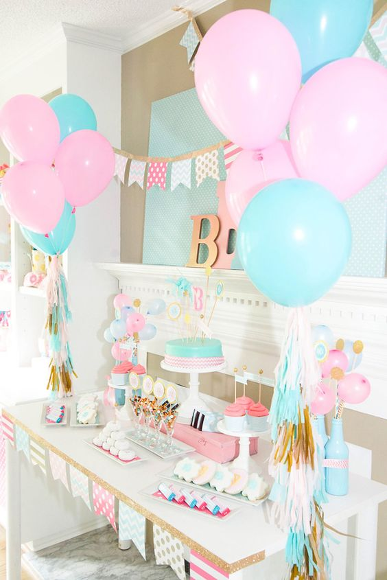 A pink and blue themed gender reveal dessert table. & 27 Creative Gender Reveal Party Ideas - Pretty My Party