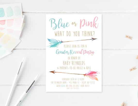 A Boho-themed gender party invitation.