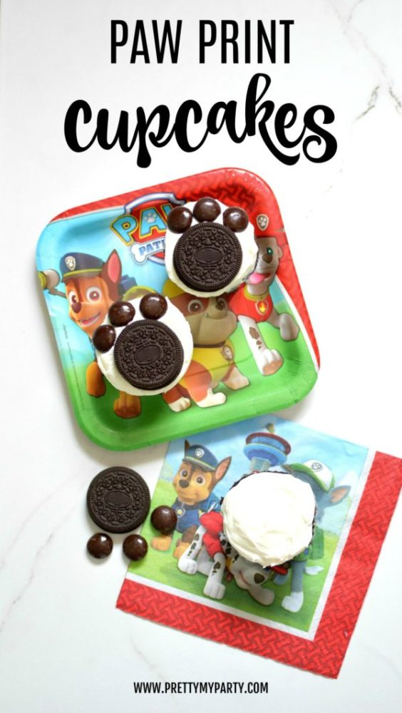 Easy Paw Patrol Puppy Print Cupcakes | Paw Patrol Party Ideas