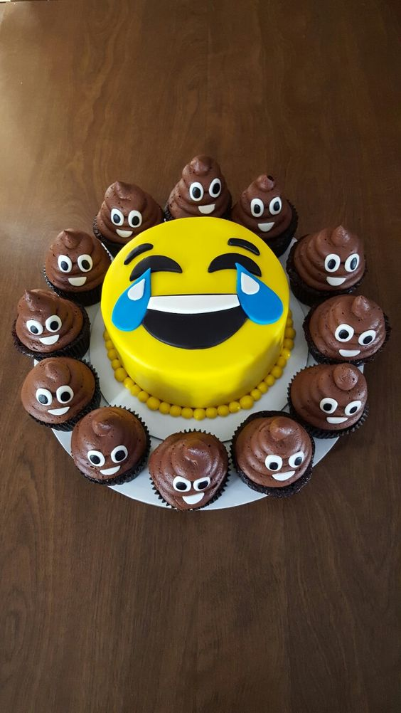 Emoji Cake with Poop Cupcakes | Emoji Birthday Party Ideas