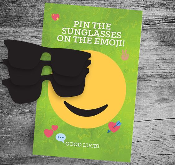 Pin the Sunglasses on the Emoji | Emoji Birthday Party Ideas