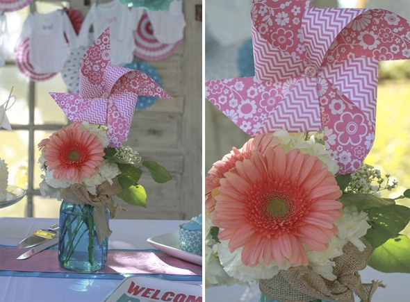 Blue and Pink Mason Jar Flowers - Gender Reveal Decorations