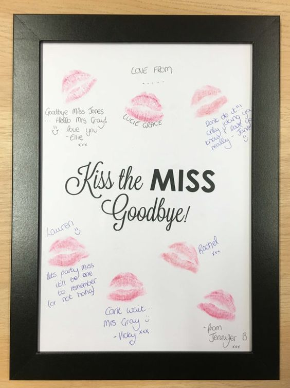 Kiss the Miss Goodbye Keepsake - Fun Bachelorette Party Ideas