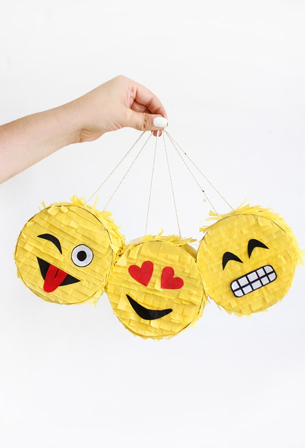 Mini DIY Emoji Pinatas | Emoji Birthday Party Ideas