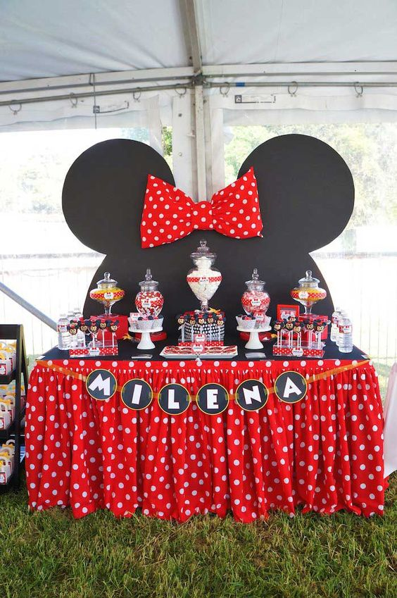 Minnie Mouse Dessert Table In Red And Black Color Combination