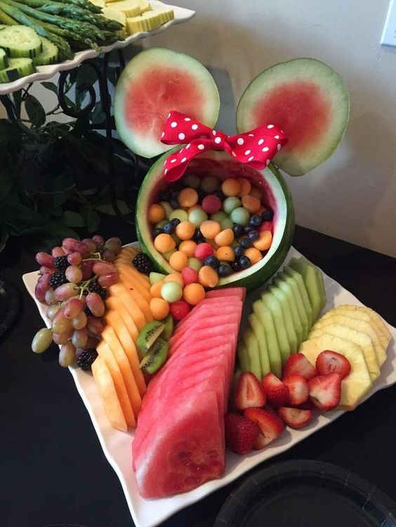 DIY watermelon fruit bowl for a Minnie Mouse party.