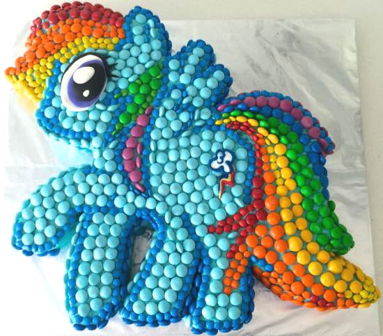 Rainbow Dash Candy Covered Cake | My Little Pony Party Ideas