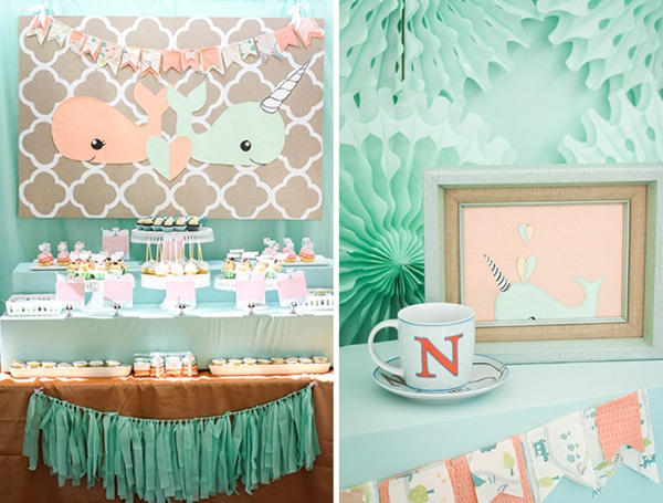 A peach and mint whale party theme for gender reveals.