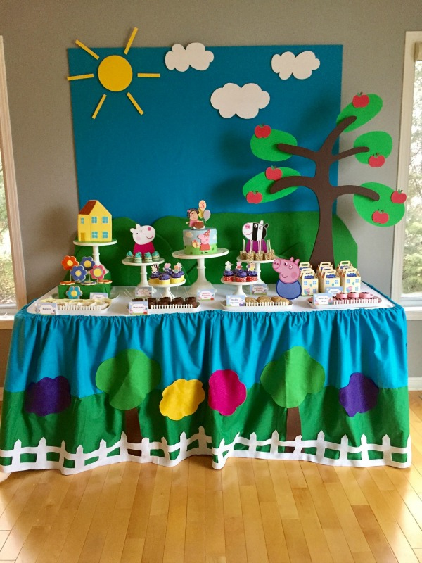 Peppa Pig Birthday Dessert Table
