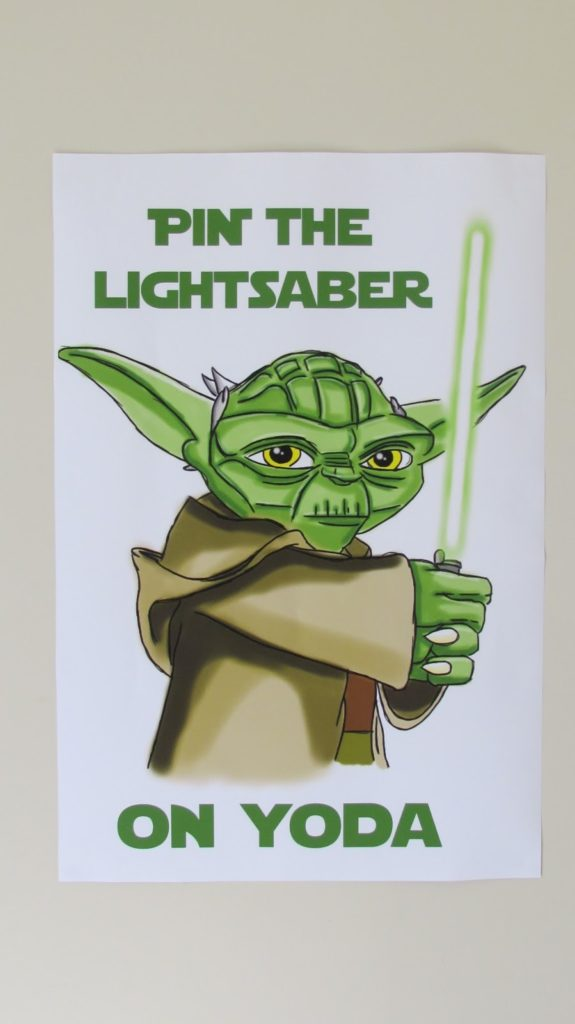 Star Wars Party Ideas | Pin the Light Saber on Yoda
