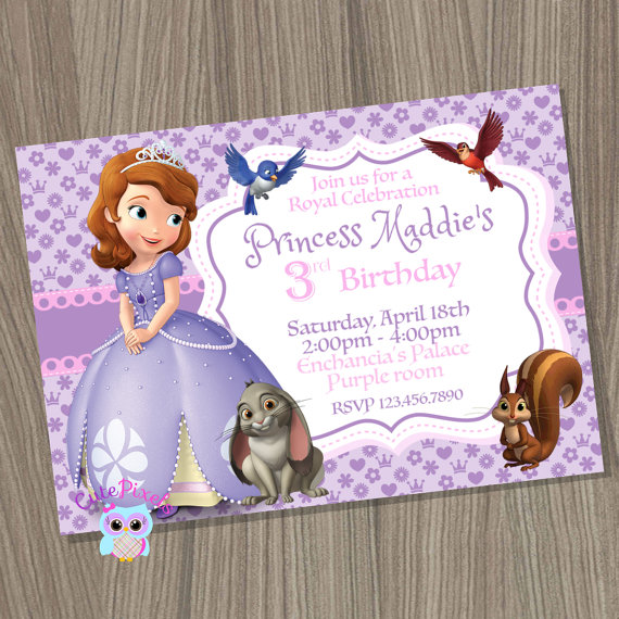 Sofia The First Party Invitation | Sofia The First Birthday Party Ideas