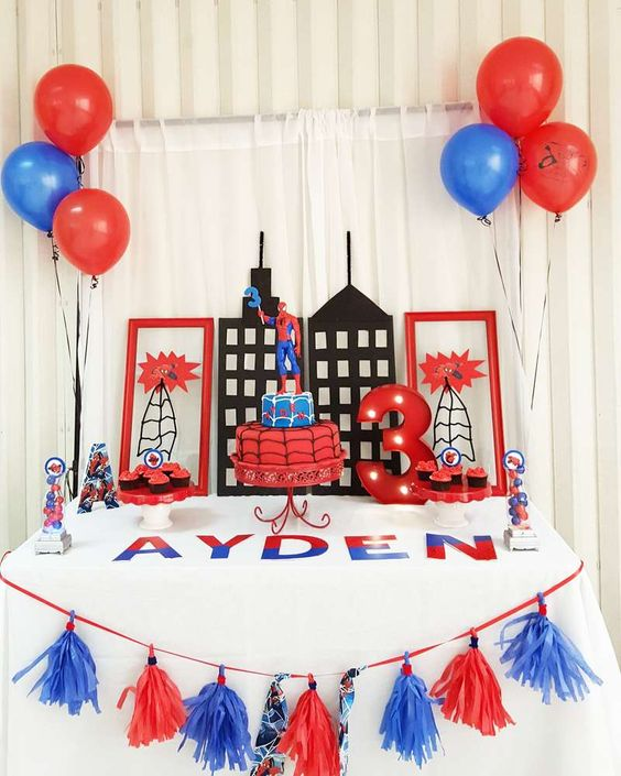 Spiderman Birthday Dessert Table