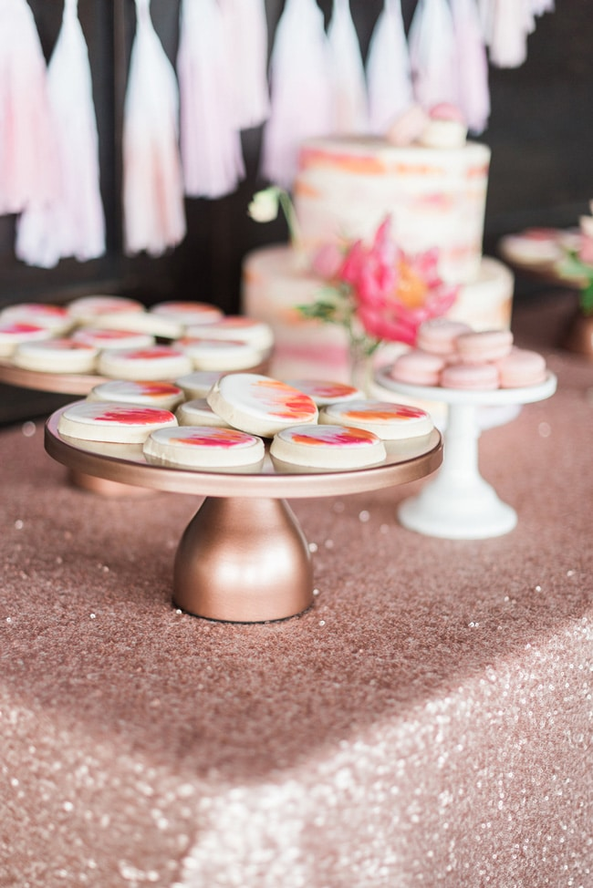 Pink Peony Inspired Baby Shower Cookies