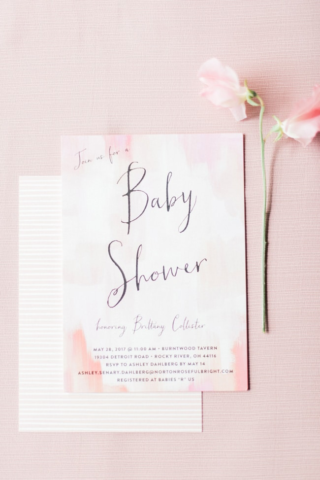 Pink Peony Inspired Baby Shower Invitation
