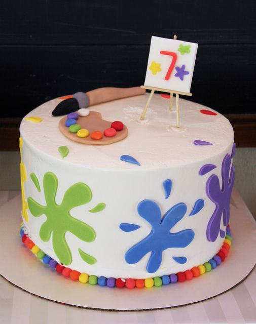Paint Party Birthday Cake