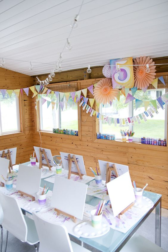 Artist Party Table with Watercolor Decorations | Paint Party Ideas