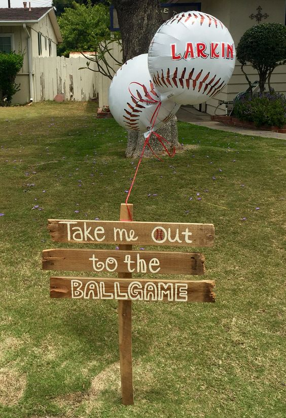 Wooden Baseball Party Sign | Baseball Party Ideas