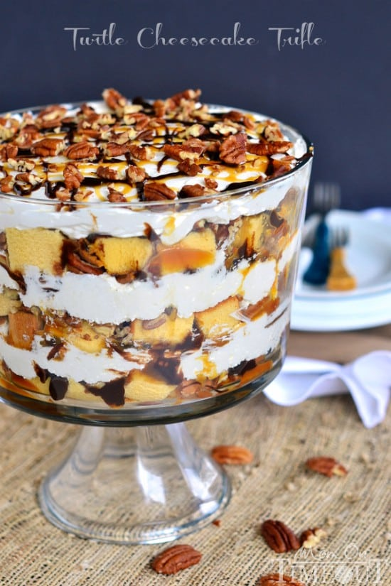 Turtle Cheesecake Trifle Recipe | Holiday Trifle Recipes