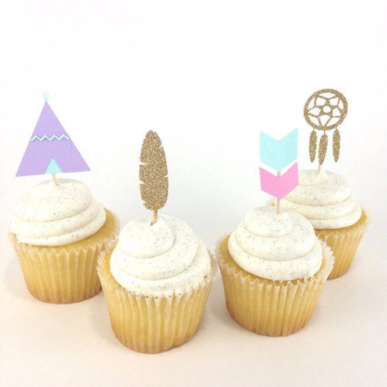 Boho Cupcake Toppers - Boho Chic Party Ideas