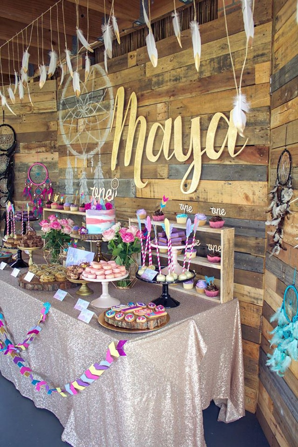 Boho Chic First Birthday Dessert Table - Boho Chic Party Ideas