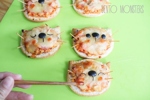 Mini Cat Pizzas | Cat Party Ideas