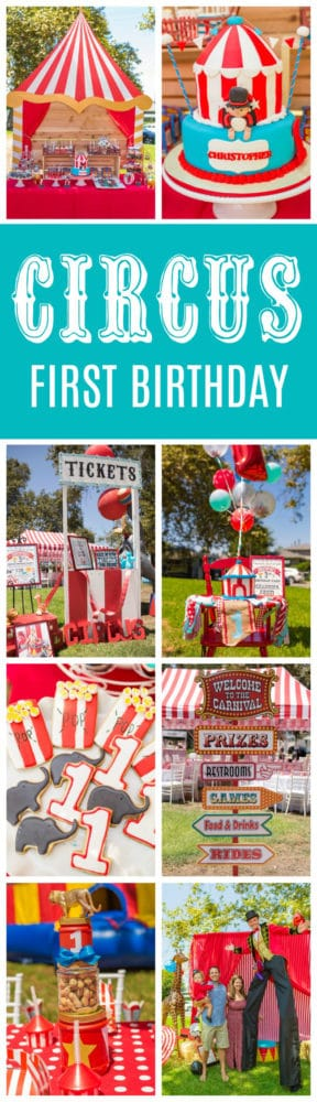 Whimsical Circus First Birthday Party featured on Pretty My Party