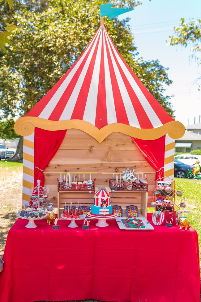 Whimsical Circus First Birthday Party Dessert Table