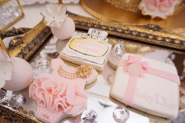 Diamond and Dior Themed Birthday Party Cookies
