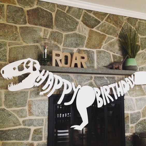 Dinosaur Happy Birthday Banner - Dinosaur Party Ideas