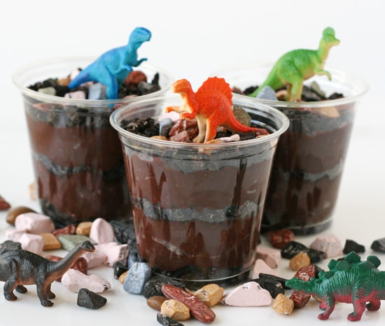 Dinosaur Dirt Cup Party Treats - Dinosaur Birthday Party