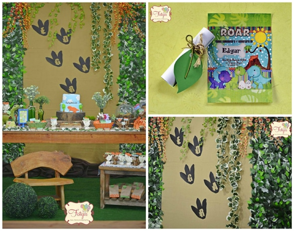 Dinosaur Footprint Backdrop - Dinosaur Birthday Party Ideas