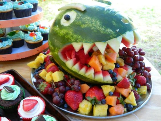 Dinosaur Watermelon Fruit Bowl - Dinosaur Birthday Party Ideas