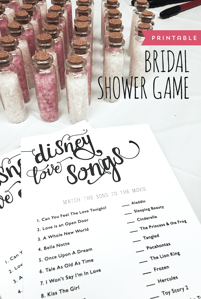 Disney Love Songs - Free Bridal Shower Games