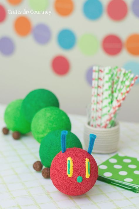DIY Very Hungry Caterpillar Table Centerpiece | Very Hungry Caterpillar Party Ideas