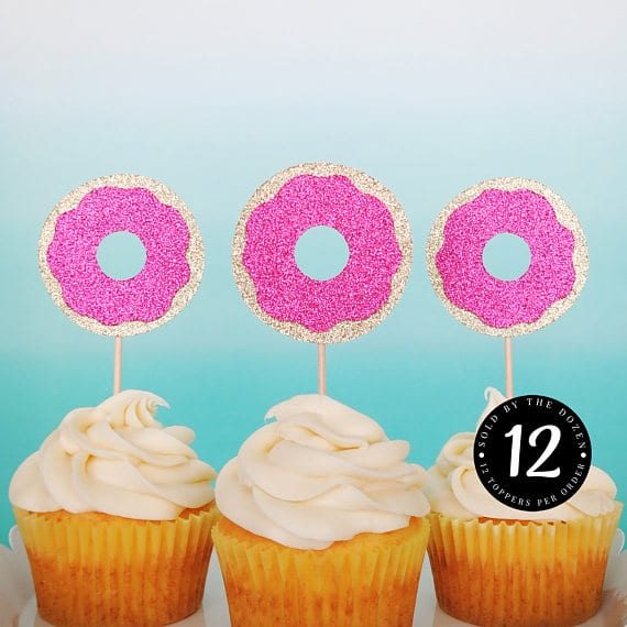 Donut Cupcake Toppers | Donut Themed Party Ideas