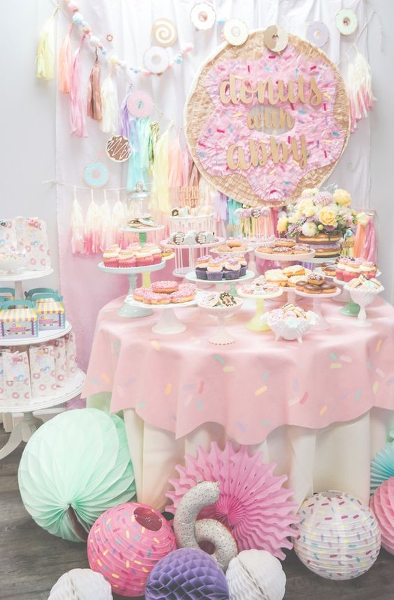 Donut Party Dessert Table | Donut Themed Party Ideas