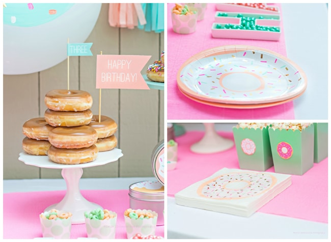 Mint and Coral Donut Party featured on Pretty My Party