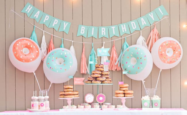 Mint and Coral Donut Birthday Party