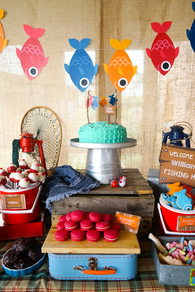 Most popular kids party themes: Gone Fishing Dessert Table
