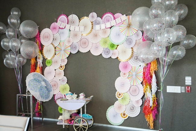 Floral High Tea Bridal Shower Photo Booth Backdrop