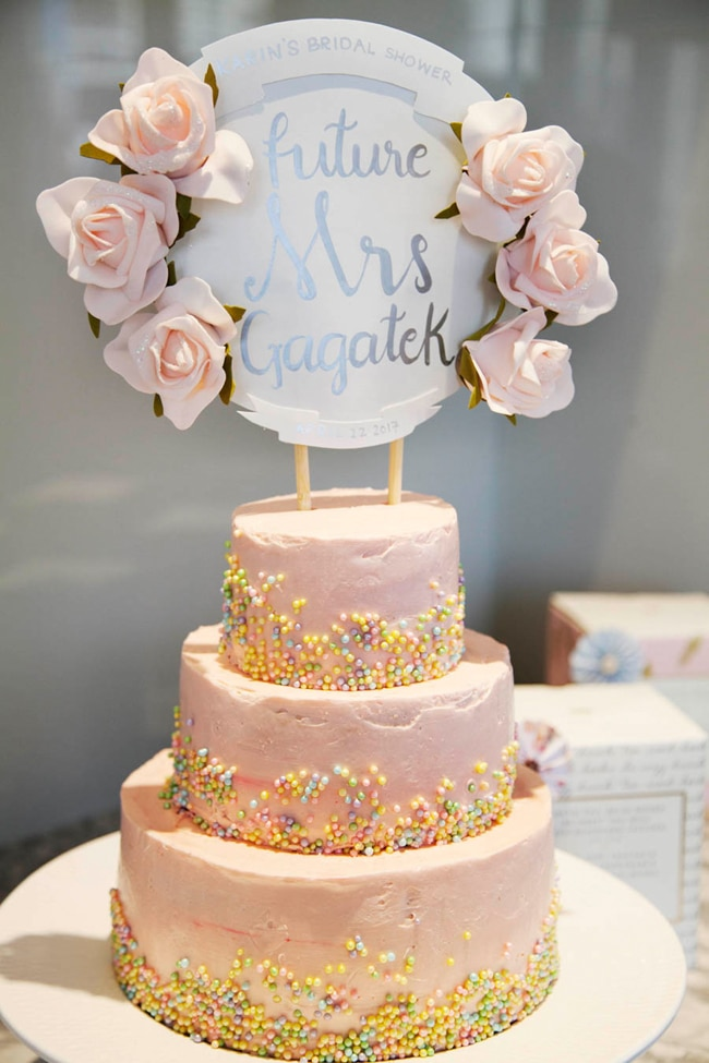floral high tea bridal shower cake