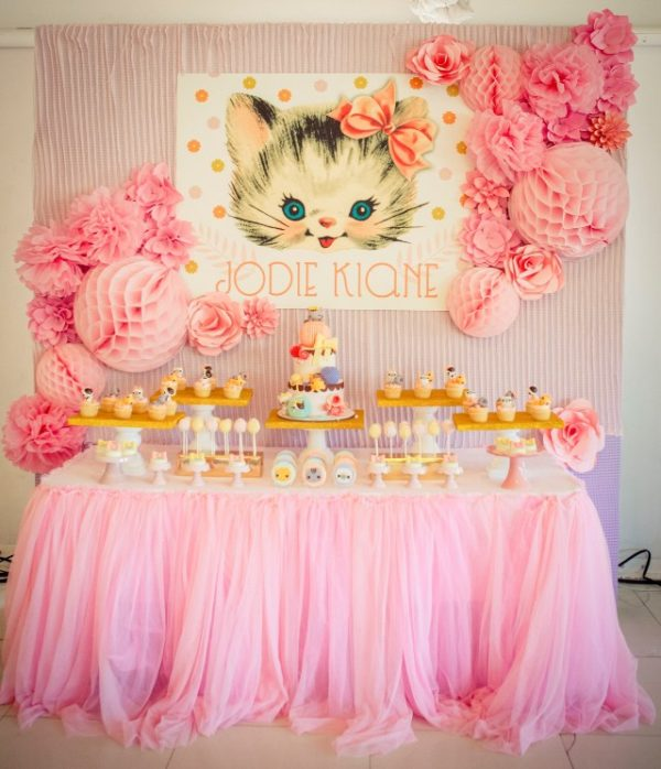 Vintage Cat Party Dessert Table